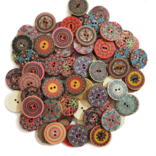 15-25mm 50pcs Retro Wooden Buttons 2 Holes for Handwork Sewing Scrapbook Clothing Button DIY Crafts Accessories Gift Card Decor
