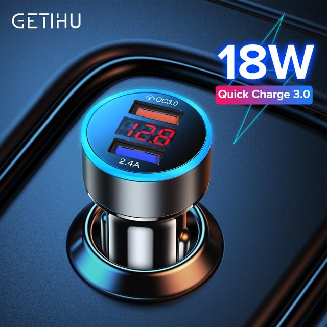 Cargador de coche GETIHU 3.1A Dual USB, pantalla LED, carga rápida, teléfono móvil Universal para iPhone 11 Pro X XR Max 6 7 8 Xiaomi Huawei