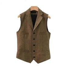 Suit Vest Men Wool Tweed British Style Waistcoat Brown Classic Slim Fit Herringb