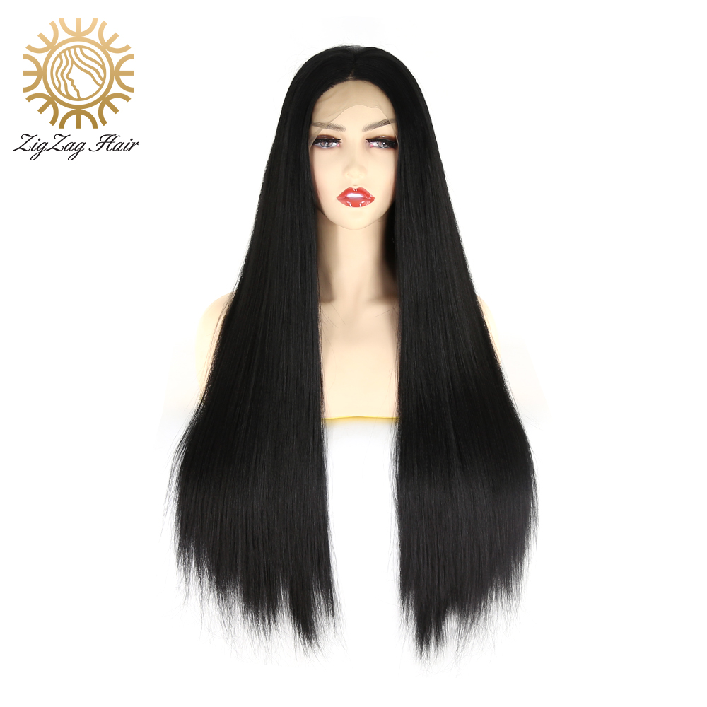 ZigZag Kinky Straight Synthetic Lace Front Wigs for Black Women Middle Part  Long Natural Black Heat Resistant Fiber Daily Wear