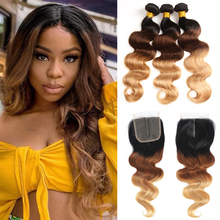 Colored Brazilian Body Wave Hair Weave 3/4 Bundles With Closure Blonde 1B/4/27 Remy Ombre Human Bundles With T Lace Closure