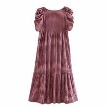 Vestido Midi plisado de manga corta para mujer, nuevo vestido retro con cuello cuadrado, plisado, decorativo, con rejilla, para verano, 2020