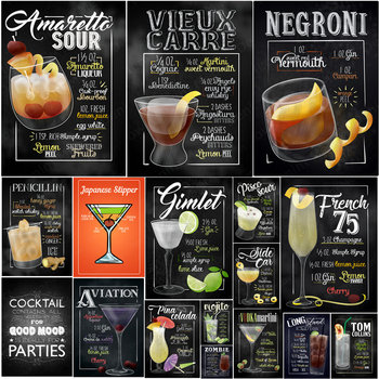 French Martini Vintage Metal Tin Signs Amaretto Sour Negroni Tom Collins Cocktail Plaque Pub Bar Wall Art Poster Home Decor N350 [ wellcraft ] coffee cocktail love cake tea tin signs wall plaque custom metal painting antique gift bar pub decor lt 1704
