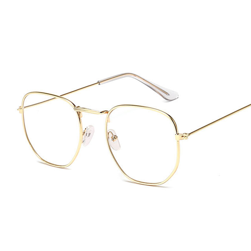 Small Hexagon Alloy Gold Frame Glasses Classic Retro Optics Eyeglasses Transparent Clear Lens Women Men Espectacles Female