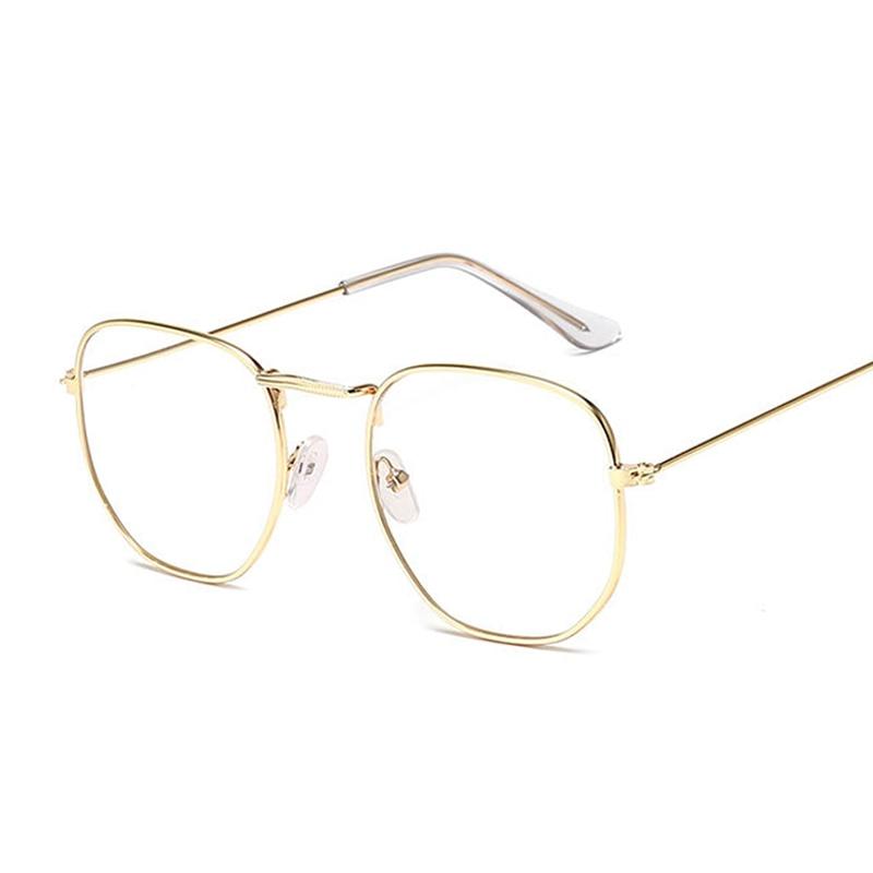 Small Hexagon Alloy Gold Frame Glasses Classic Retro Optics Eyeglasses Transparent Clear Lens Women Men Espectacles Female