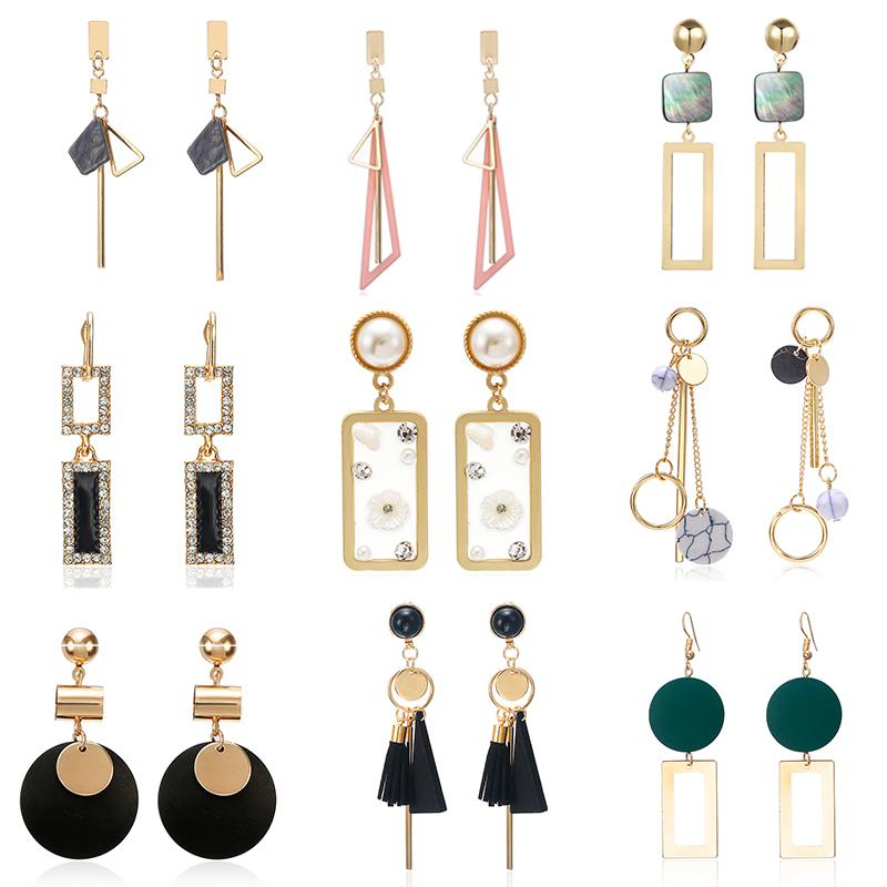 Korean Acrylic Earrings For Women Trendy Za Elegant Geometric Dangle Drop Earrings Vintage Women Fashion Jewelry 2019 Oorbellen