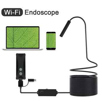 WIFI Endoscope Camera HD 1200P Mini Waterproof Soft&Hard Wire Wireless 8mm 6 LED Borescope Camera For Android PC IOS Endoscope - DISCOUNT ITEM  65% OFF All Category