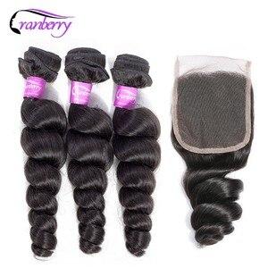 Клюквенные волосы свободные волнистые пряди с закрытием перуанские человеческие волосы пряди с закрытием 100% Remy натуральные кудрявые пучки...