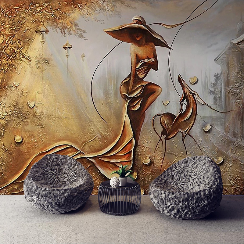 Custom 3D Wall Mural European Style Relief Golden Figure Photo Wallpaper Living Room TV Hotel Creative Wall Papers For Wall 3 D