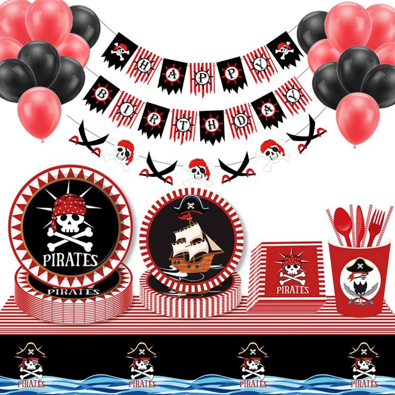 Красные пиратские вечерние одноразовые наборы посуды для дня рождения вечерние украшения для детей тарелки салфетки чашка баннер для детс...