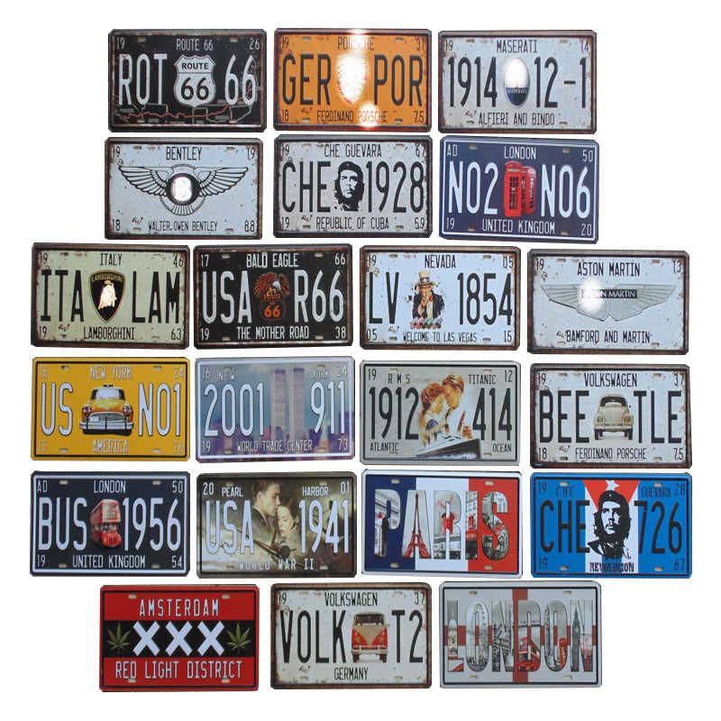30*15 سنتيمتر USA Vintage لوحة معدنية القصدير علامات Route 66 سيارة عدد المرآب ديكور رخصة اللوحة المشارك نادي جدار دبوس حتى ملصق