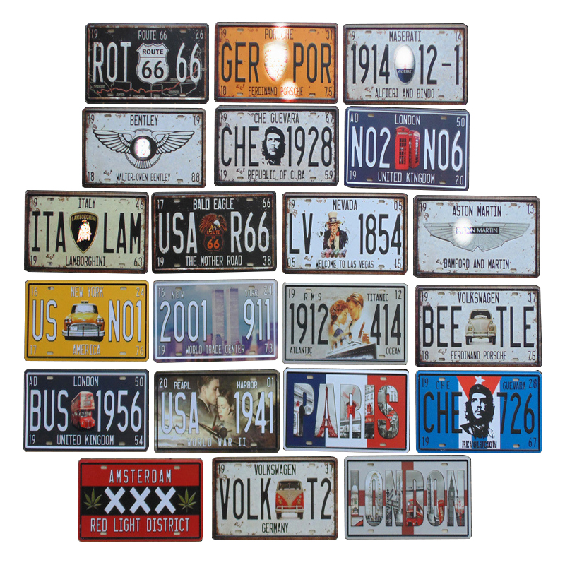 30*15cm USA Vintage Plate Metal Tin Signs Route 66 Car Number Garage Decor License Plaque Poster Club Wall Pin Up Poster