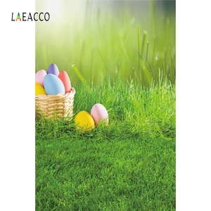 Image 2 - Laeacco Easter Eggs Basket Grassland Spring Baby Birthday Party Photography Backgrounds Photographic Backdrops For Photo Studio