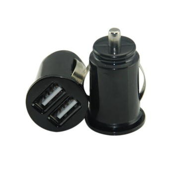 Portable 12V Power Dual 2 Port USB Mini Bullet Car Charger Adapter for iPhone Portable Double USB Mini Car Charger image