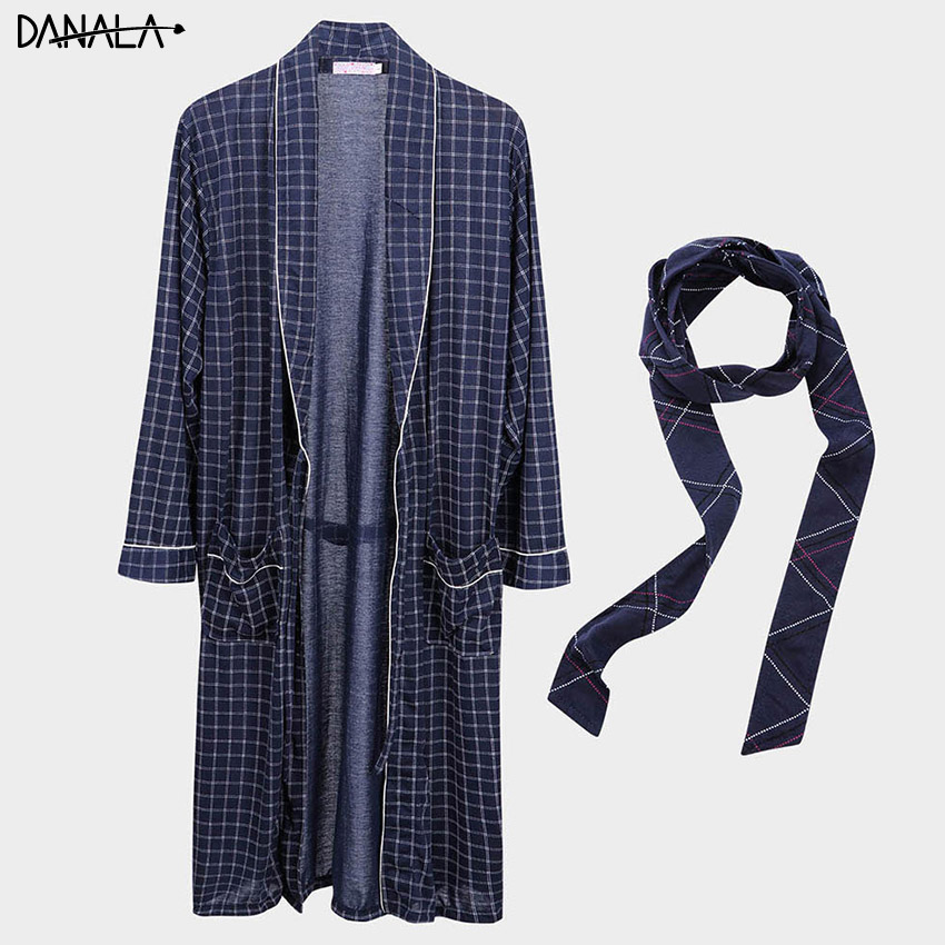 DANALA Winter Autumn Loose Men's Bathrobe Striped Warm Comfortable Dressing-gown Pajamas V-Neck Sexy Women Home Suits Swimsuit
