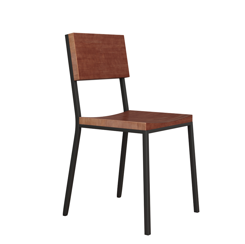 Simple Modern Back Chair Leisure Fast Food Restaurant Seat Iron Wood Restaurant Dining Chair