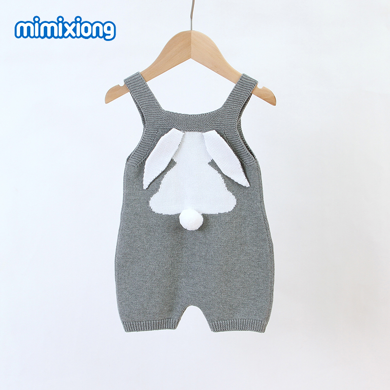 Baby Easter Rompers Clothes Cute Rabbit Knitted Newborns Infantil Sleeveless Jumpsuits Sunsuits Summer Toddler Boys Girls Outfit