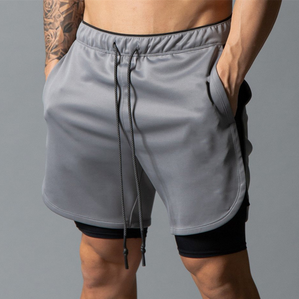 Gym Shorts Men 2 In 1 Double Layer Short Pants Fitness Running Sports Workout Bermuda Male Summer Casual Quick Dry Beach Shorts