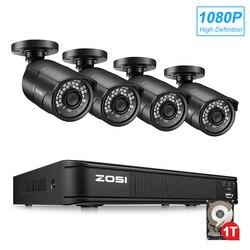 ZOSI 1080P 4-в-1 CVBS AHD CVI TVI безопасности 4ch камера охранной системы видеонаблюдения 2MP видеонаблюдения DVR комплект HDD