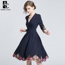 S-xxl весенне-осеннее женское платье цветочный узор вышивка снизу окантовка манжеты темно-синее платье v-образный вырез 3/4 рукав винтажное платье