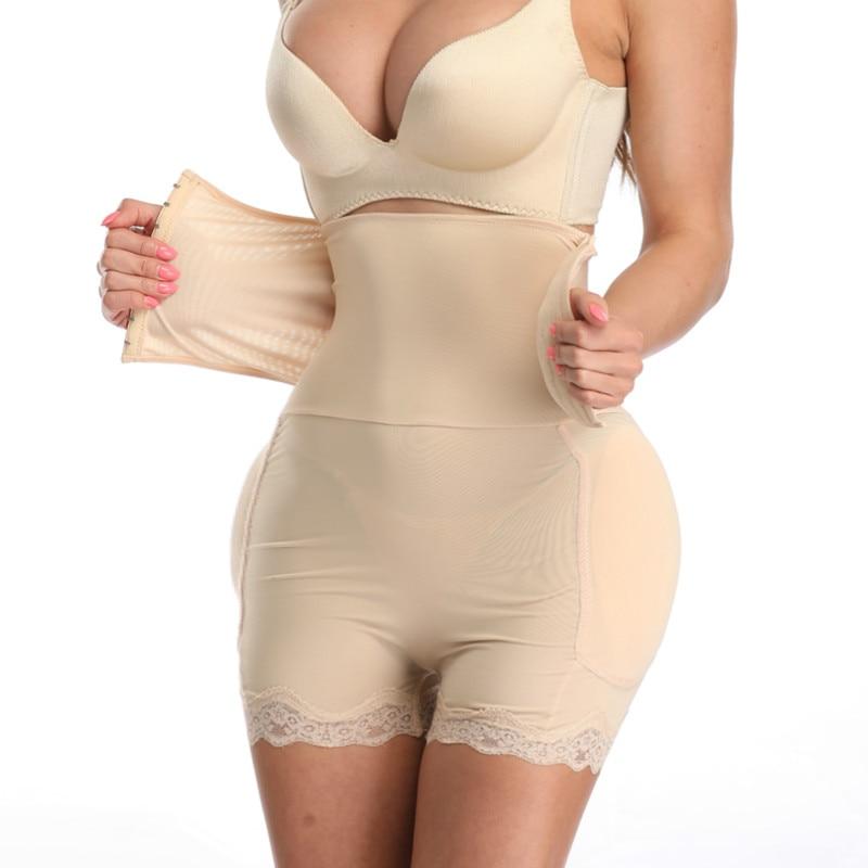 Woman Control Panties Waist Trainer Butt Lift with Sponge Pad Hip Enhancer Body Shaper Cincher Lace Sexy Lingerie Tummy Control