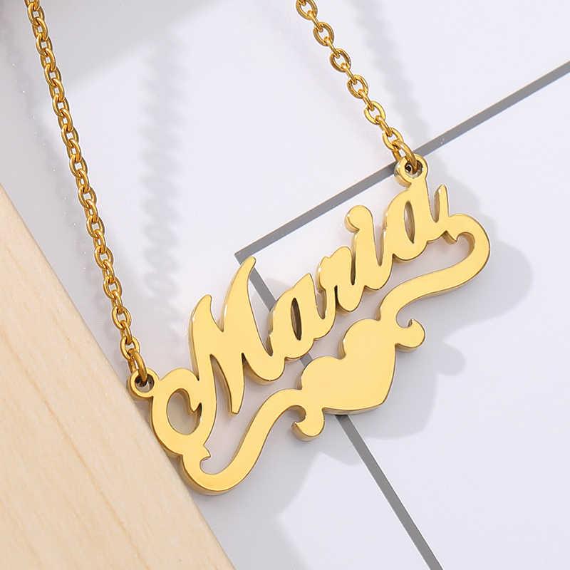 パーソナライズ名前ネックレスハートリボン銘板ペンダントローズチョーカーネックレス女性のためのステンレス鋼bffジュエリーギフト