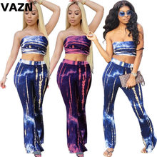 VAZN Sexy fashion 2020 summer sexy lady blue rose red print long 2-piece set strapless short tops long flare pants set cool set(China)