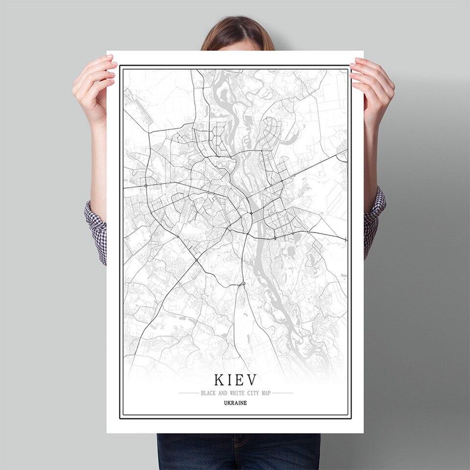 Ukraine Black White World City Map Poster Nordic Living Room KIEV Kirovgrad Lviv Wall Art Pictures Home Decor Canvas Painting