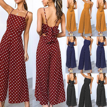 Holiday Long Pants With Straps Women Wide Leg Jumpsuits Open Back Knot Polka Dot Jumpsuit Sexy Bandage Elegant Party Jumpsuits wide leg polka dot cami jumpsuit