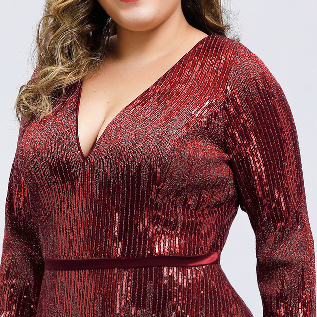 Luxury Prom Dresses Plus Size Ever Pretty Full Sleeve Deep Mermaid V-Neck Sequined Sexy Autumn Winter Party Gowns Gala Jurk 2020 5