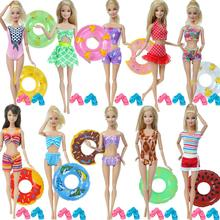 7 Pcs/Set Doll Swimsuit Bikini + 1x Random Swim Ring + 5x Mixed Pink Blue Slippers Shoes Clothes for Barbie Doll Accessories Toy 9 item set doll accessories 3 pcs doll clothes dress 3 plastic necklace random 3 pairs shoes for barbie doll girl gift toy