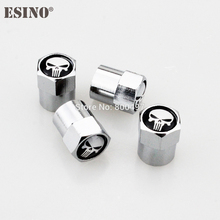 200 x Car Styling Stainless Zinc Alloy The Punisher Skull Tire Valve Caps Wheel Tires Valves Tyre Stem Air Cap Airtight Covers