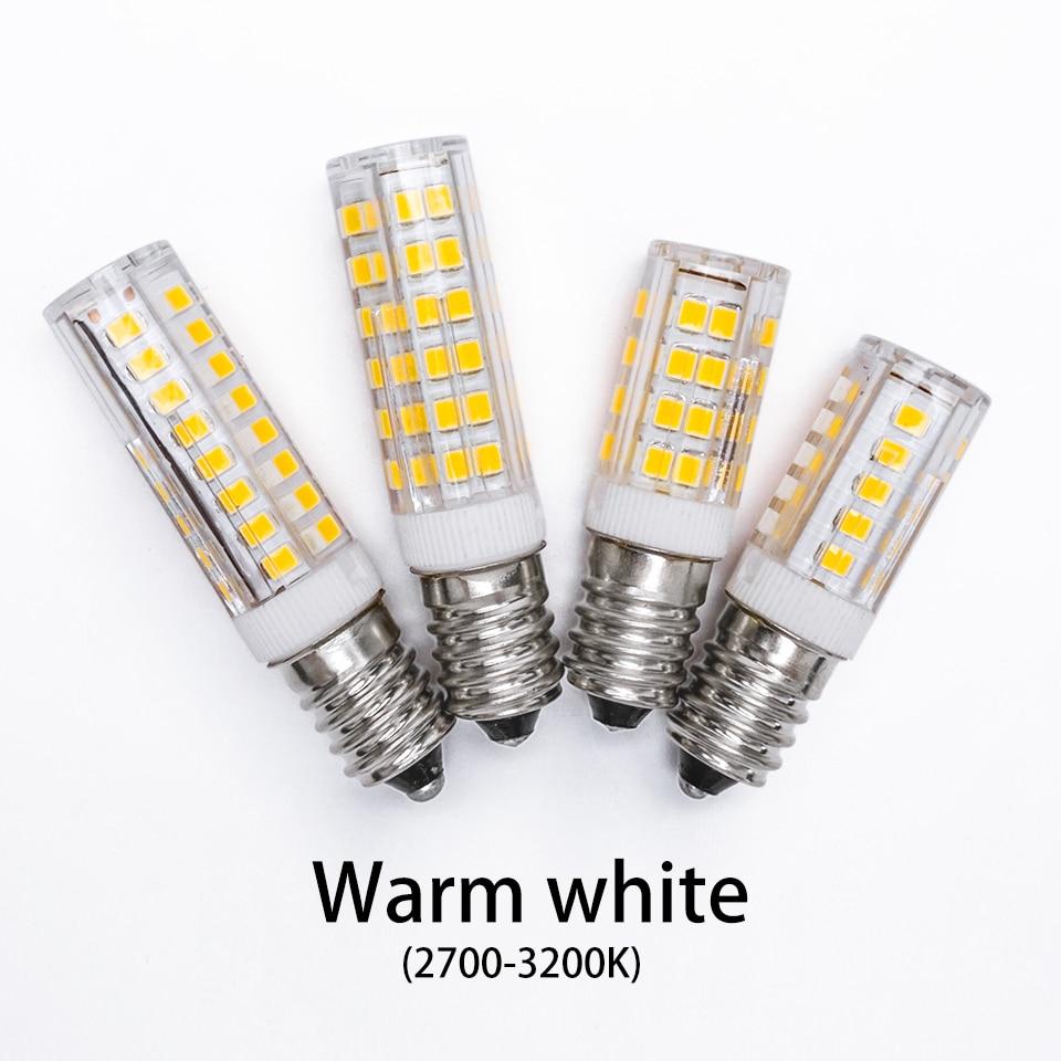 E14 conduziu a lâmpada 5w 7 9 220v 2835 smd lâmpada cerâmica substituir 30 40 50 halogênio para vela lustre de cristal geladeira