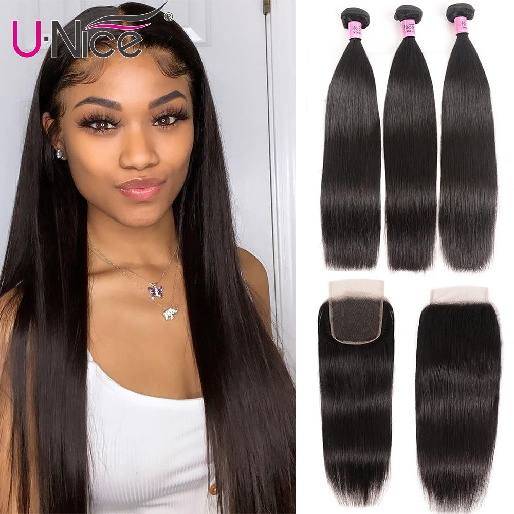UNice Hair Icenu Remy Hair Series Brazilian Straight Hair 3 Bundles With Closure Human Hair Weave 4x4 Lace Closure 4PCS 8-30