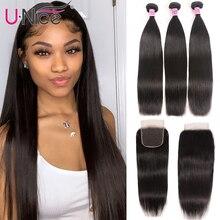 """UNice Hair Icenu Remy Hair Series brazylijski proste włosy 3 zestawy z zamknięciem ludzkie włosy wyplata 4x4 zamknięcie koronki 4 sztuk 8 30"""""""