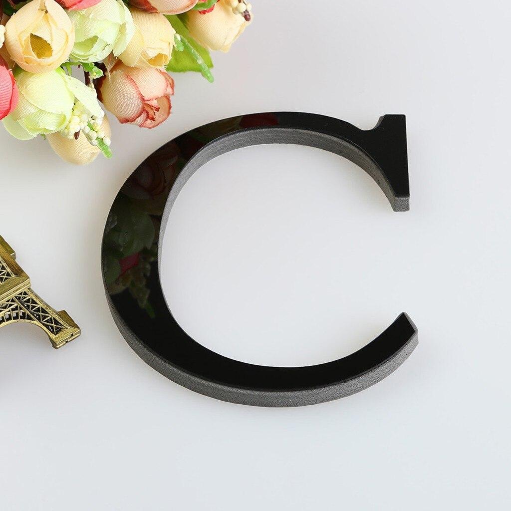 #15cm decorazioni per la casa lettere Decorative nere 26 lettere fai da te specchio 3D adesivo da parete in acrilico Wall Art Home Decor accessori ation