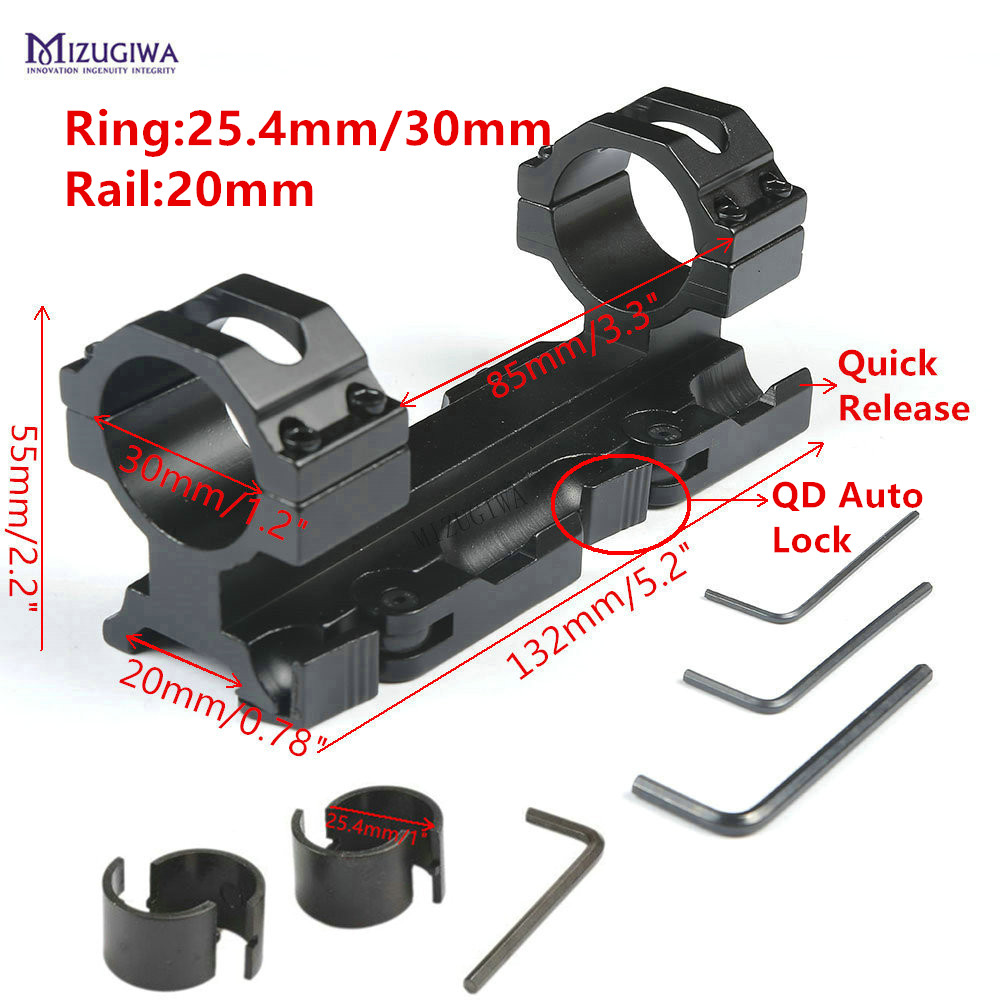 """AR15 M4 Scope Mount 30mm 1"""" Ring Quick Release Cantilever Heavy Duty Rifle Scope Mount 20mm Picatinny Rail Weaver QD Auto Lock(China)"""