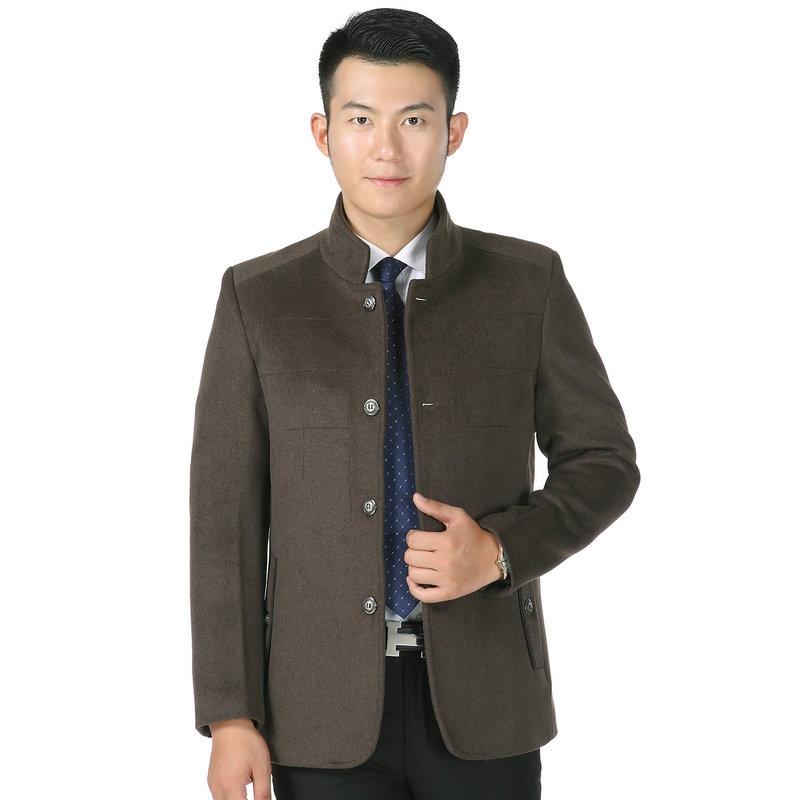 Chinese Style Men Elegant Tweed Coats Early Winter Autumn Mandarin Collar Tailored Mao Jacket Plaid Pattern Wool Blend Outerwear