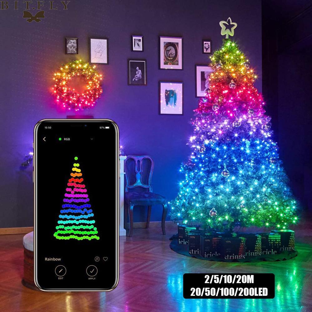 Рождественская елка Декор Bluetooth светодиодные гирлянды Счастливого Рождества для дома 2020 USB умная лампа Рождественские подарки Новогоднее у...