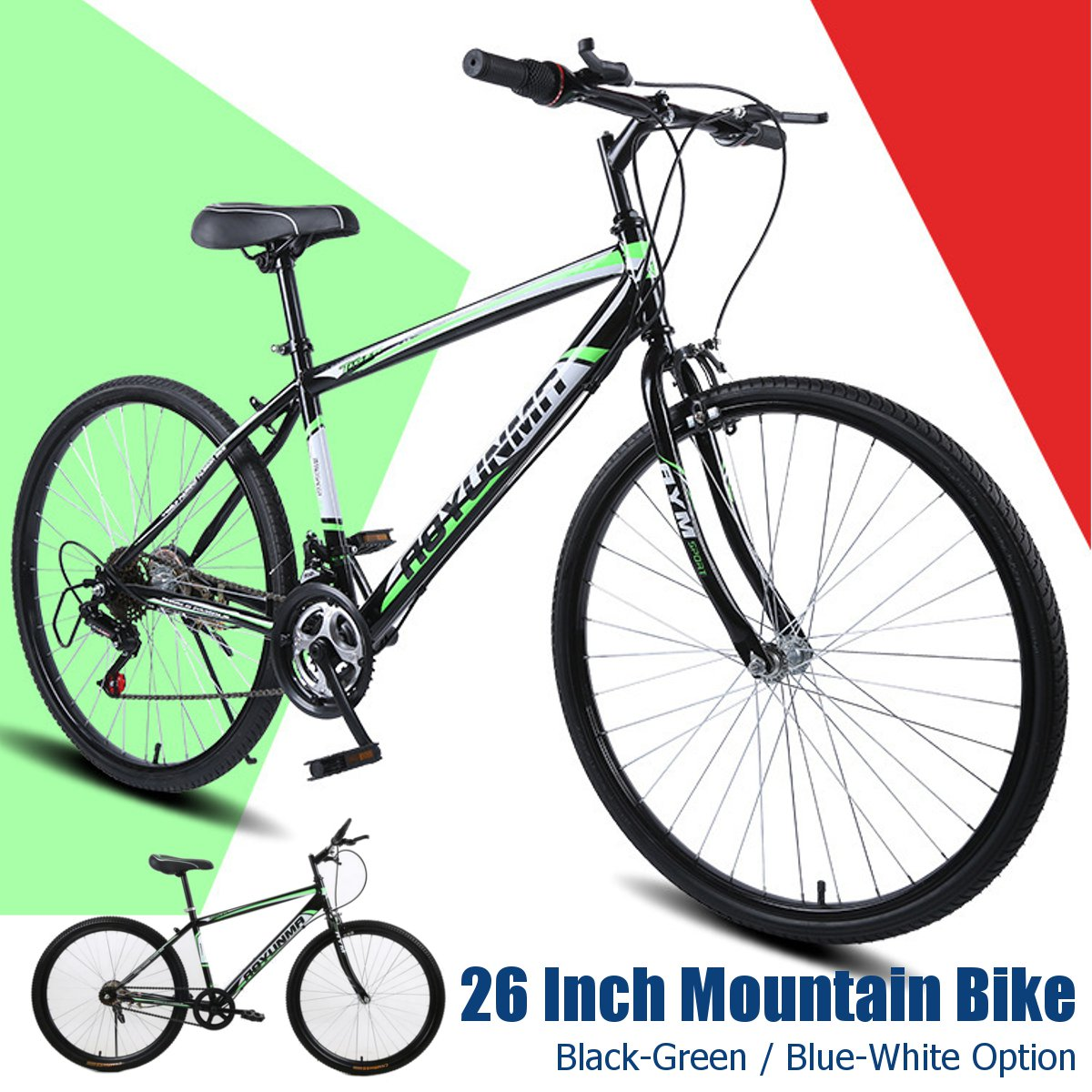 26 Inch V Brake Mountain Bike Full Bicycle Family Outdoor Hiking MTB Adults Teenagers Bike Bicycle Mechanical Cycling Sports