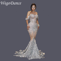 New Women Clothing Silver Sequin Rhinestones Birthday Show Prom Celebrate Outfit Bar Evening Singer Dancer Dress