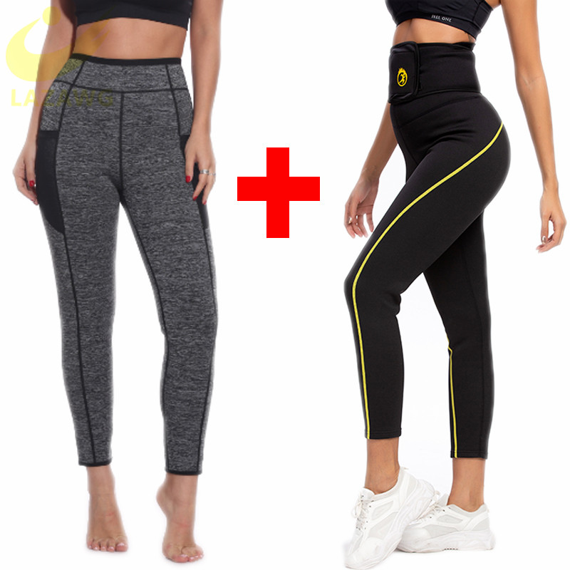 LAZAWG High Waist Sauna Sweat Pants Slimming Neoprene Weight Loss Workout Capri Leggings Gym Workout Pants Set Pocket for Women