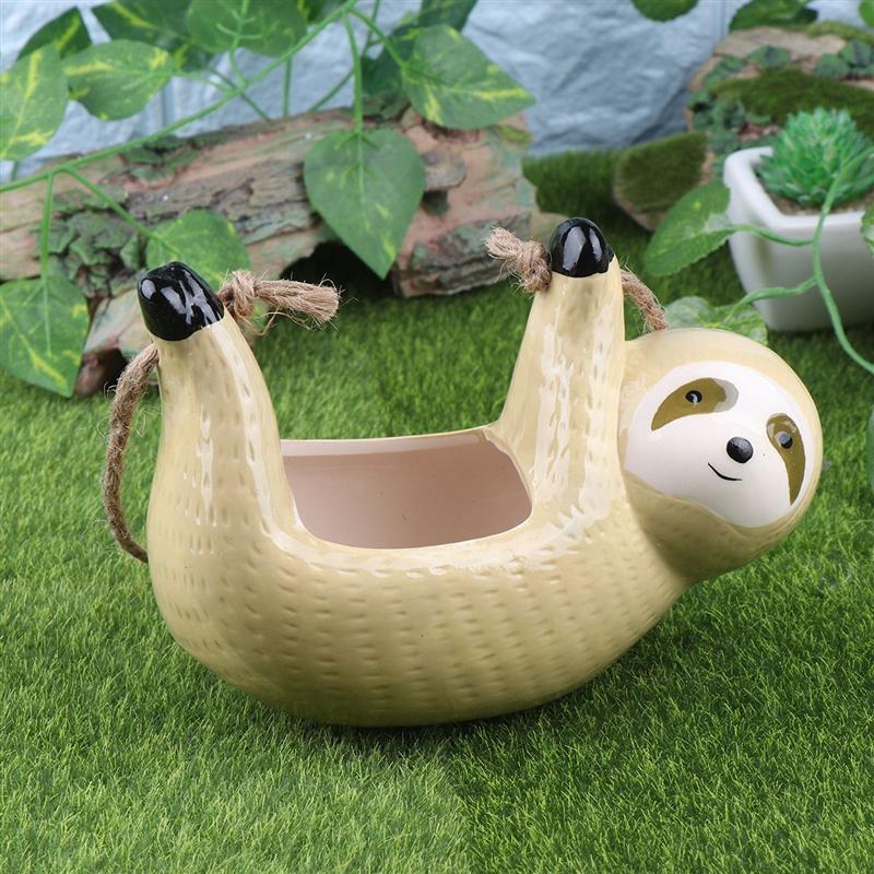 Sloth Shape Flower Pot Hanging Succulent Plant Pot Container Unique Home Decoration Ornament For Living Room Office