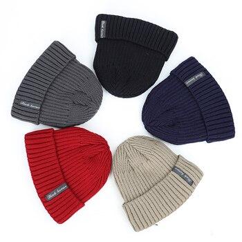 2020 New Fashion Winter Plus Velvet Thick Warm Knit Hat High Quality Women Men Solid Color Casual Beanies Soft Cap Bonnet Cotton 2