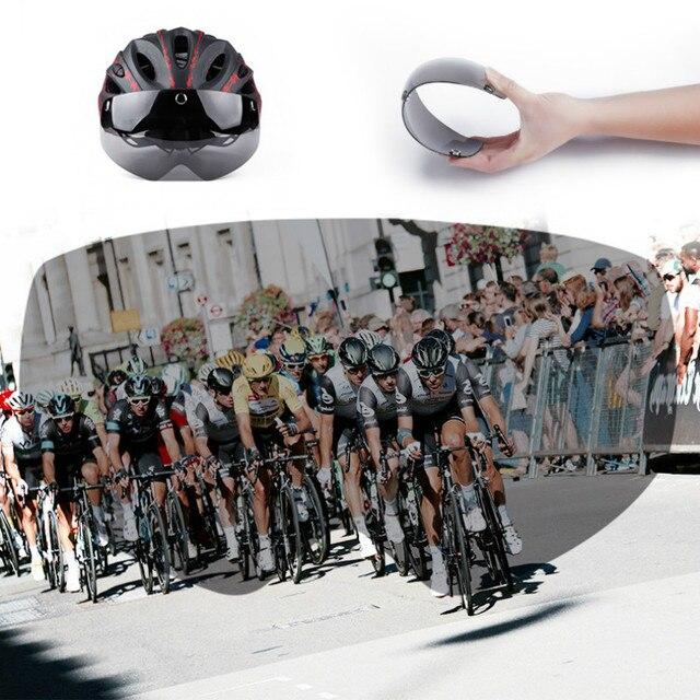 Ciclismo capacete com óculos de proteção ultraleve mtb capacete da bicicleta das mulheres dos homens ciclismo segurança esportes ao ar livre capacete de corrida 6