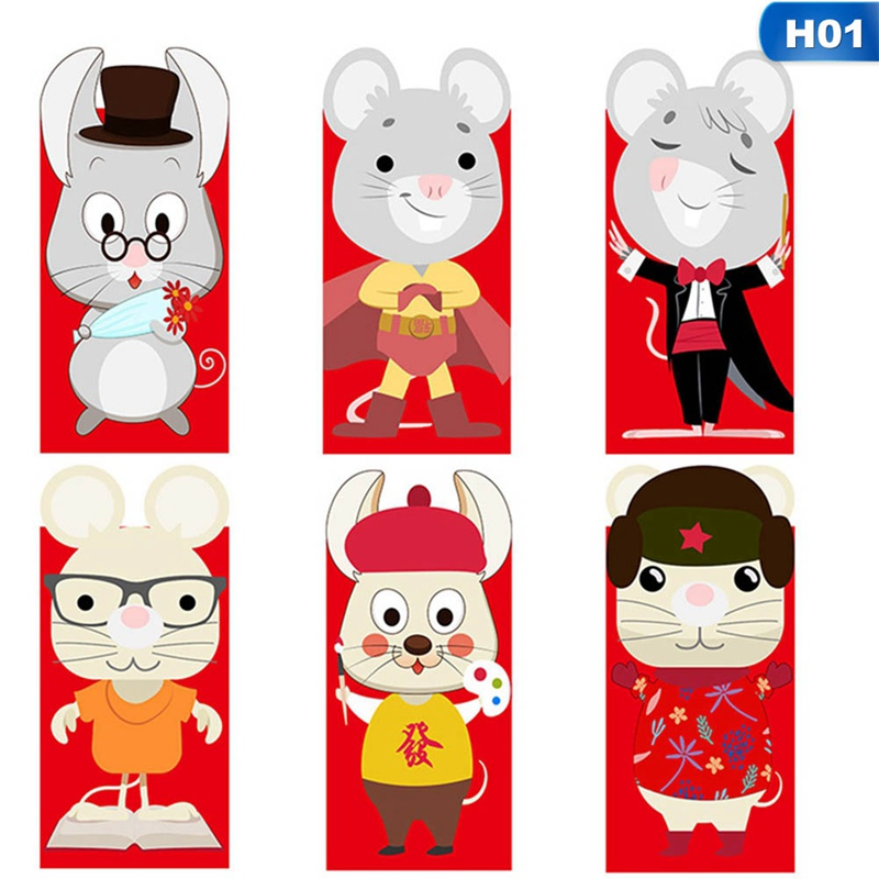 6pcs/set Chinese New Year Red Money Envelope Year Of The Rat Packet Bag Spring