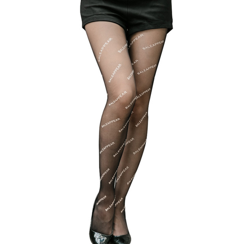 èTop SaleLetter Stockings Ultra-Thin Pantyhose Tights Printing Black Female Fashion Women Elastic▐