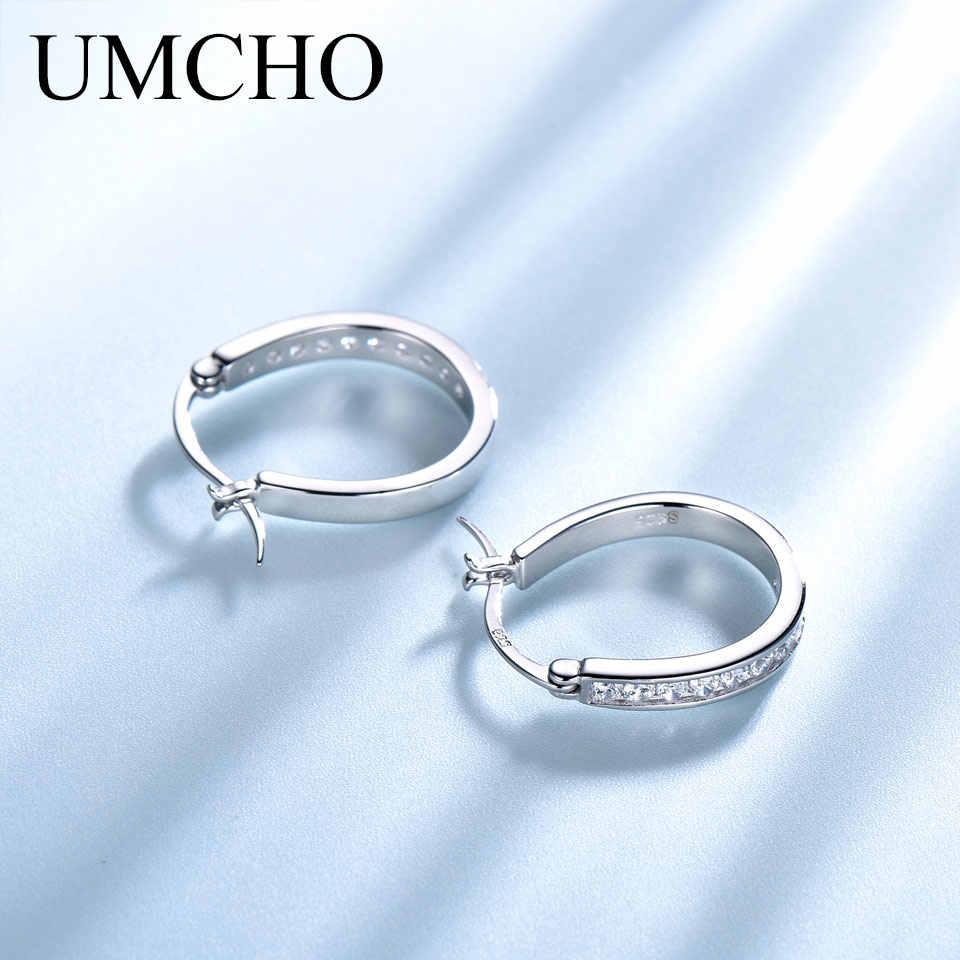 UMCHO klipsy ze srebra próby 925 dla kobiet kamień szlachetny ślub elegancka biżuteria zaręczynowa Valentine prezent