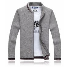 Cardigan Cotton Men Brand Clothing Zipper Fashion Winter Jacket Striped Stand Collar Sweater