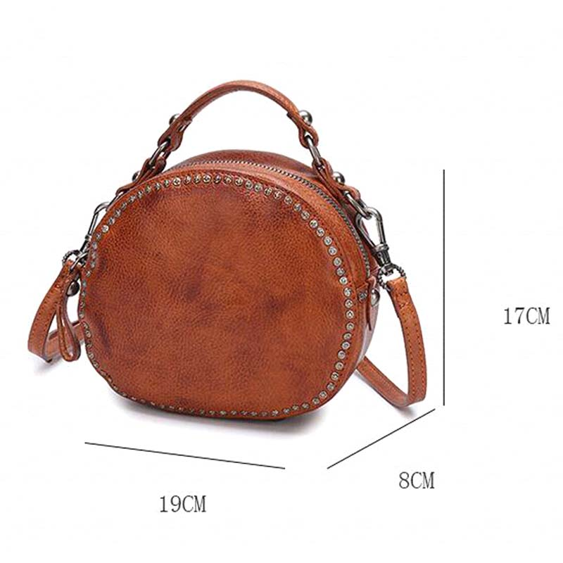 BJYL The first layer of leather handbags new leather rivet pouch retro bills shoulder slung small round bag female - 6